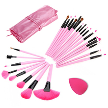 Makeup Kit Set Professional Superior Soft 24pcs Make UP Brush 1pc Sponge Puff  PowderPuffs Makeup Brush Set FE#8
