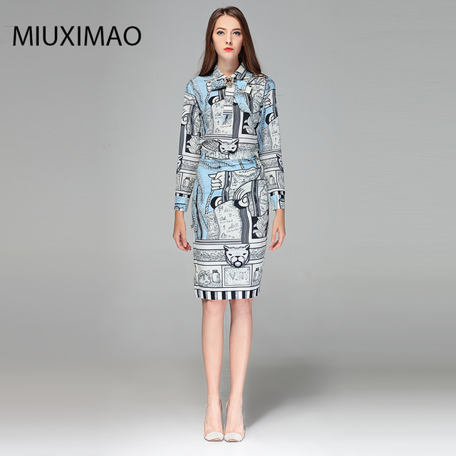 2018 High Quality Spring Fall Fashion Suit Sets 2 Piece Women s Full Sleeve  Bee Bow Printed Elegant Office Dress Suit Women 5b9ab3c54e