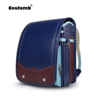 Coulomb Kid School Bag Orthopedic Backpack Boys Blue Randoseru Safety Reflective PU Japan Toddler Book Bag Baby Children Gift