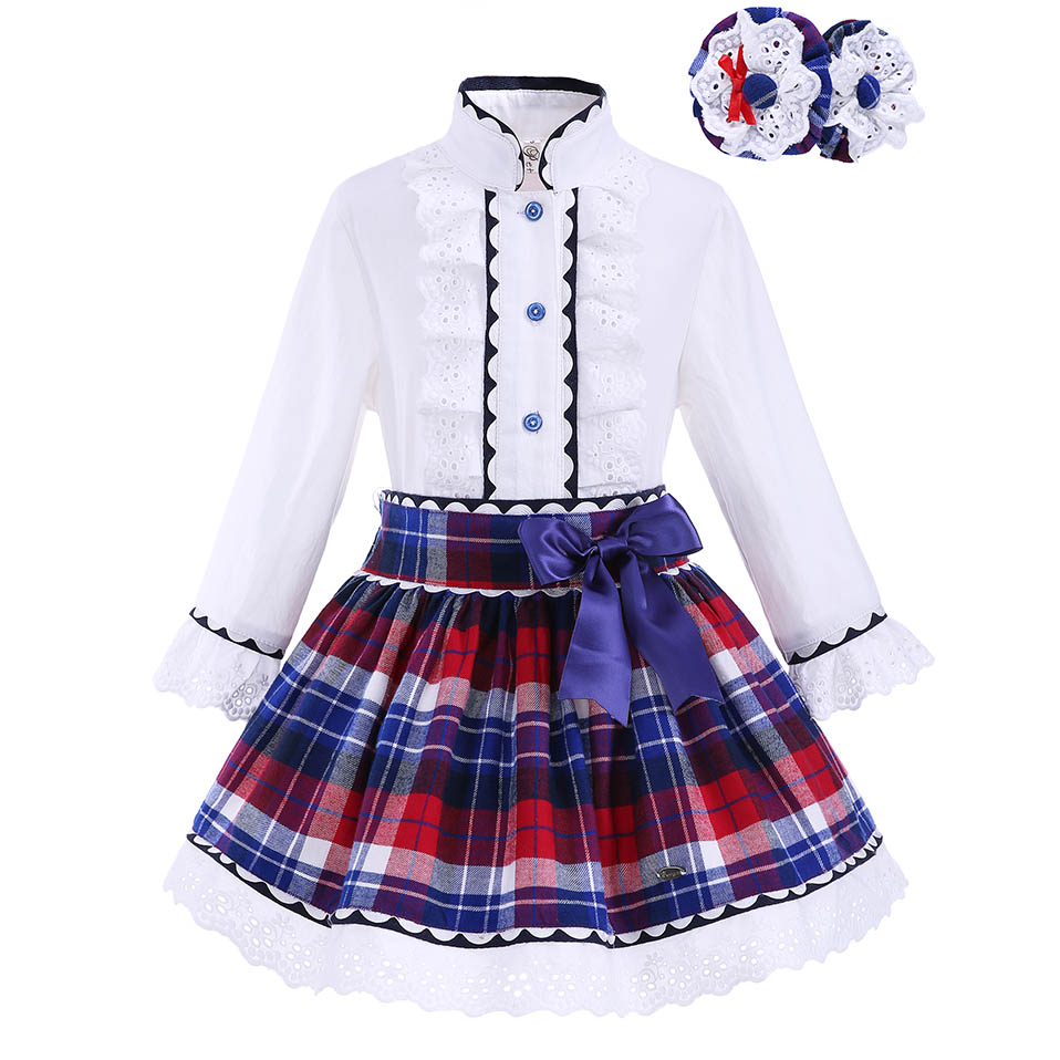 Pettigirl Girls Clothing Set with Headwear Kids Lace Cuff Boutique Grid White Top Plaid Skirts Baby Girls Outfit G DMCS908 883-in Clothing Sets from Mother & Kids