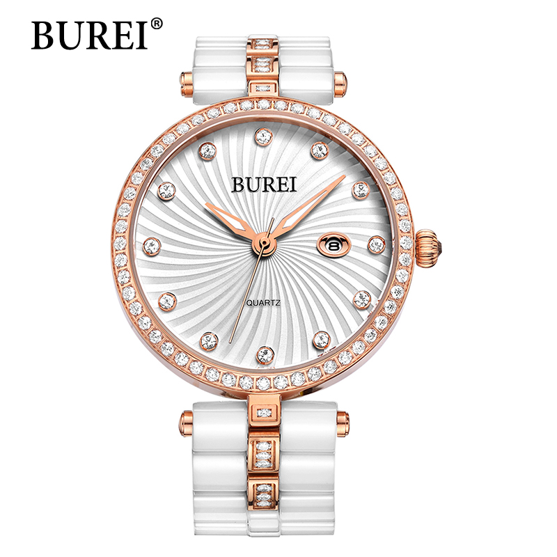 ФОТО BUREI Women Watches Top Fashion Brand Diamond Sapphire Lens Clock Ceramic Bracelet Female Date Quartz Wristwatches New Arrival