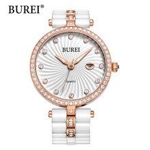 BUREI Relojes de Las Mujeres de Primeras Marcas de Moda Diamante Lente de Zafiro Reloj de Pulsera De Cerámica Femenina Fecha Relojes Del Cuarzo de la Nueva Llegada