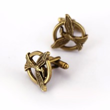 HSIC JEWELRY The Hunger Games Antique Bronze Vintage Birds Cuff Links Brand Cuff Buttons Men Jewelry Birthday Gifts HC11242