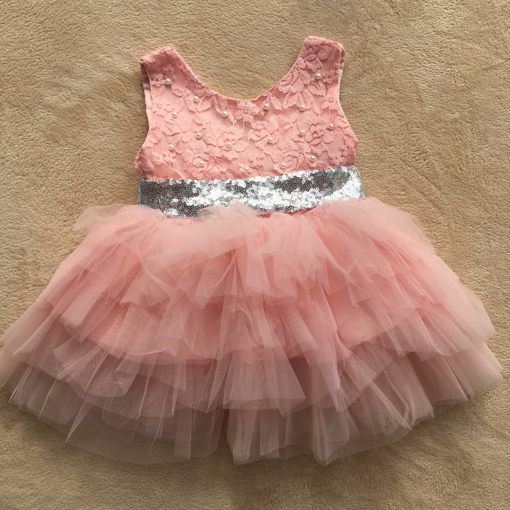 2017 new baby girl tutu dresses children pink princess party dress with sequins waistline kids pearl lace wedding ball gown
