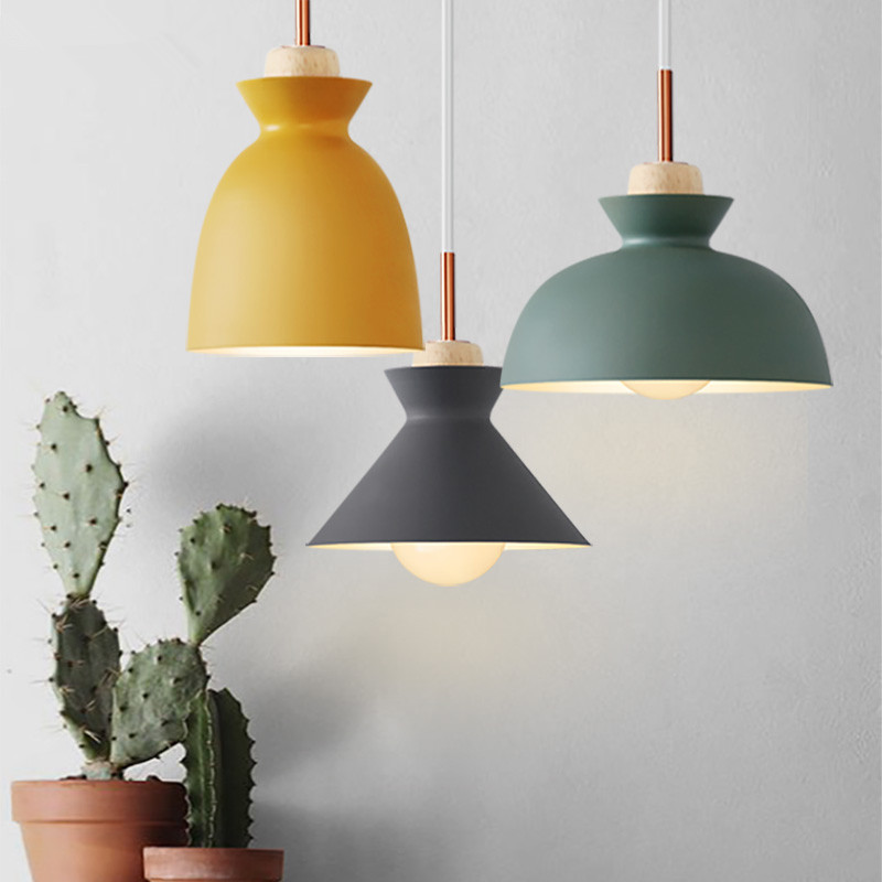 scandinavian modern colorful pendant light wood metal lampshade pendant lamp creative bar cafe. Black Bedroom Furniture Sets. Home Design Ideas