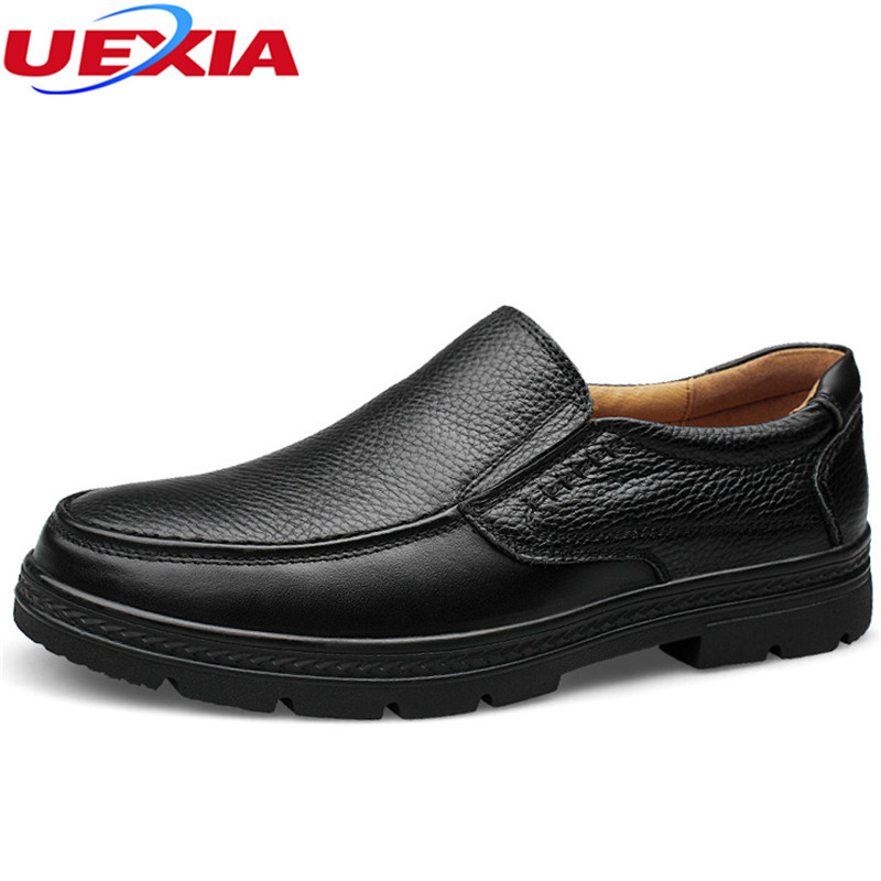 UEXIA Casual Shoes Men Solid Fashion Flats With Leather Quality Flats Business Chaussure Homme Cowhide Loafers Big Size 37-47 men leather boat shoes vintage lace up casual driving shoes man fashion flats chaussure homme large size 46 loafers zapatillas