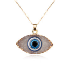 personality natural stone druzy evil eyes pendant necklace long chain crystal Turkish eye necklaces women girls luck jewelry(China)