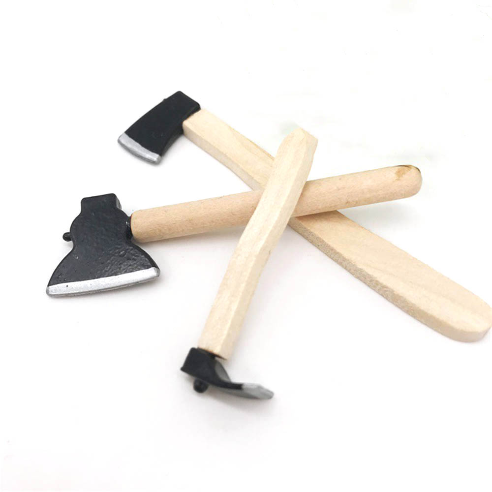 3Pcs 1/12 Dollhouse Miniature Accessories Mini Axe Hoe Simulation Miniature Farm Tools Ax Model Toy For Doll House Decoration