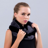 Winter Women Scarves 2016 Brand New Fur Soft Scarf Knitted Genuine Fur Ring Real Long Mink Fur High Elastic Scarf