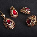 Luxuries Red Waterdrop Jewelry Sets Resin Necklace Earrings Ring Set Pendant Crystal Antique Gold African Beads Women Bijoux