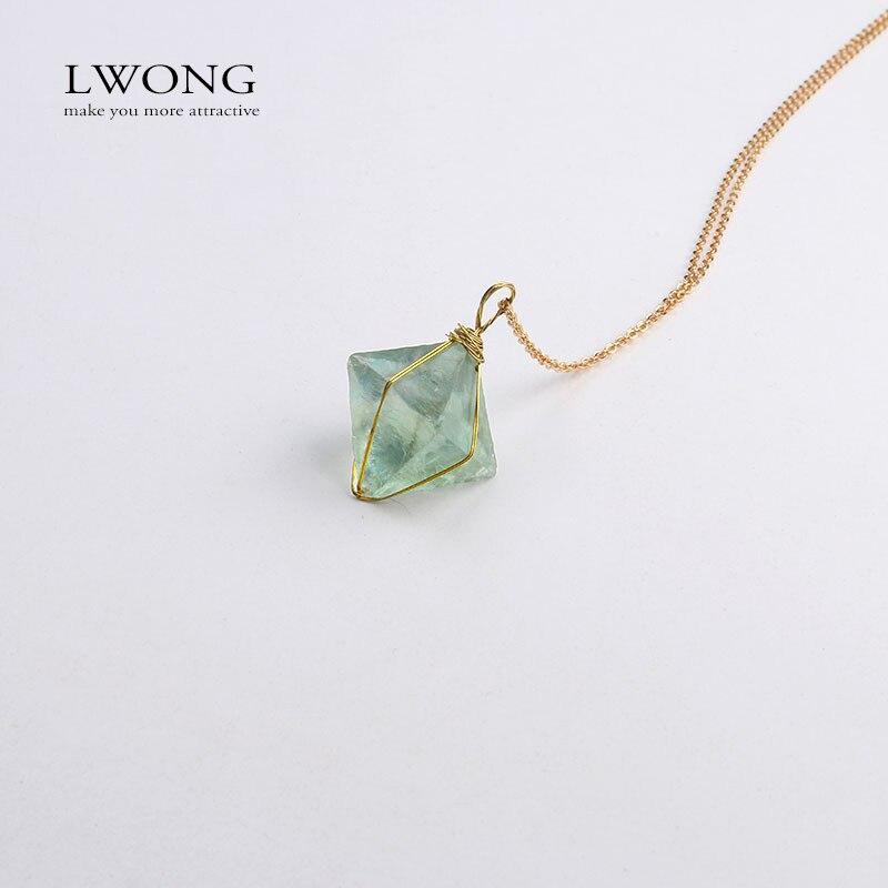 Collier pendentif en fluorite vert naturel collier de bijoux en pierre