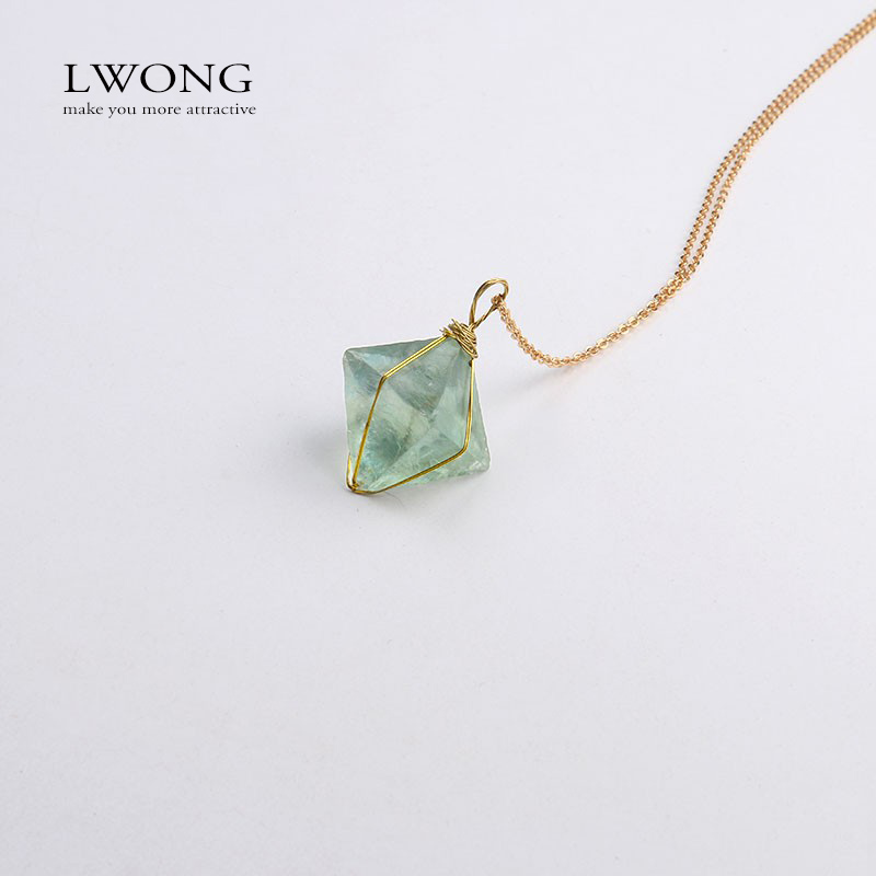 Golden Wire Wrapped Octahedron Green Fluorite Pendant Necklace ...