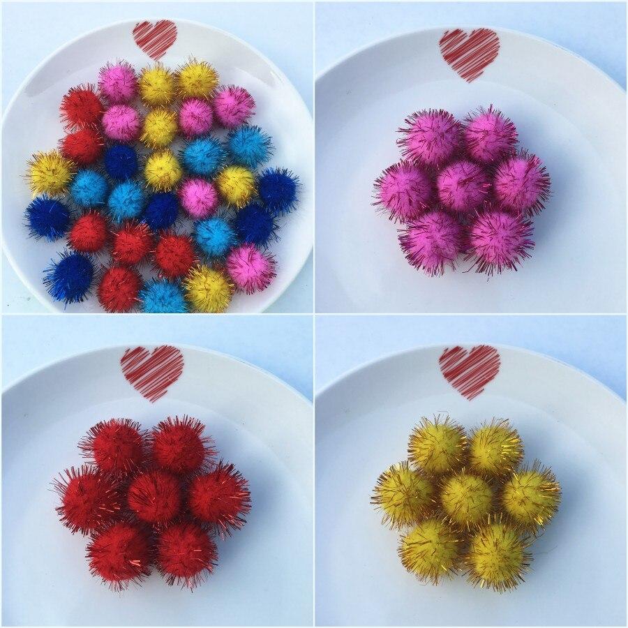 20g(32pcs) 25mm Multi Color Pompom Fur Craft DIY Soft Pom ...