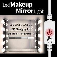 купить LED Make Up Mirror Light Hollywood Makeup Vanity Lights Dimmer Cosmetic Bulb Bedroom Dressing Table 6 10 14 Bulbs Kit Bathroom дешево