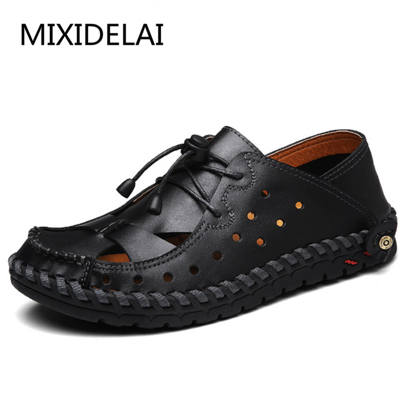 2018 Handmade Leather Shoes Genuine Leather Casual Men Shoes Fashion Men Flats Design Non-slip Comfortable Men Casual Shoes