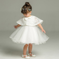 Newborn White Sleeveless Dress For Baptism Baby Girl Lace Christening Gown Toddler 1st Birthday Dress Party Infant Costumes
