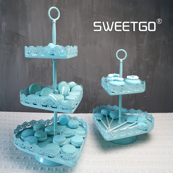 2/3 tiers Heart shape blue cupcake stand wedding Macaron display 1piece party decoration baking & pastry dessert tray
