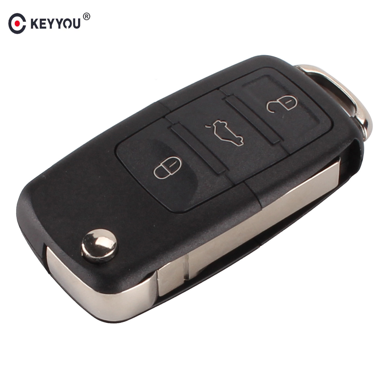 KEYYOU 3 button Folding Car Remote Flip Key Shell Case Fob For VW Passat Polo Golf Touran Bora Ibiza Leon Octavia Fabia  ...
