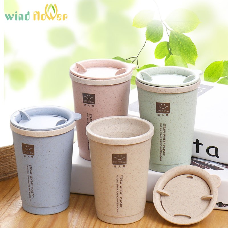 Wind flower Portable Eco-friendly Healthy Wheat Straw Leak-proof 280ml Water Bottle For Hiking Outdoor Sport