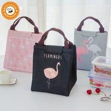 BONAMIE Flamingo Tote Thermal font b Bag b font Black Waterproof Oxford Beach font b Lunch