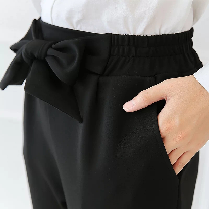 QIAOYI JIA Women OL high waist harem pants bow tie drawstring sweet elastic waist pockets casual trousers pantalones black/white 6
