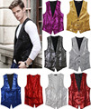 Paillette Male Sequins Stage Performance Costumes Men Vest MC Host Clothing Waistcoats Show Sleeveless Jackets Gold Silver D203