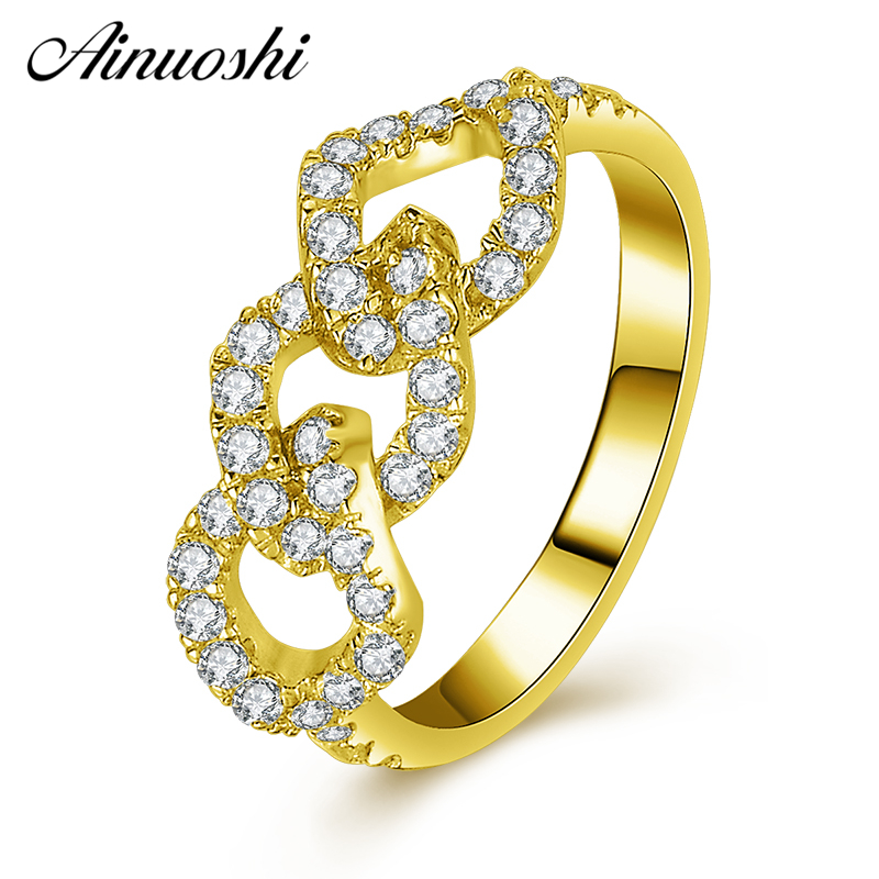 AINUOSHI 10K Solid Yellow Gold Link Chain Ring Row Drill Shinning CZ Cluster Ring Bridal Band Bague Engagement Female JewelryAINUOSHI 10K Solid Yellow Gold Link Chain Ring Row Drill Shinning CZ Cluster Ring Bridal Band Bague Engagement Female Jewelry