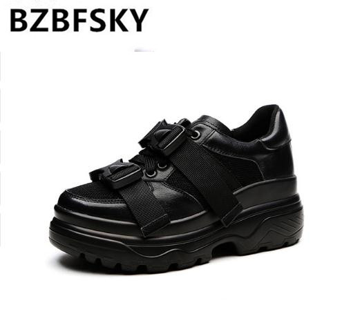 2018 Spring  Wedges Sneakers Women Fashion Buckle Flat Platform Shoes For Women Thick bottom Casual Shoes