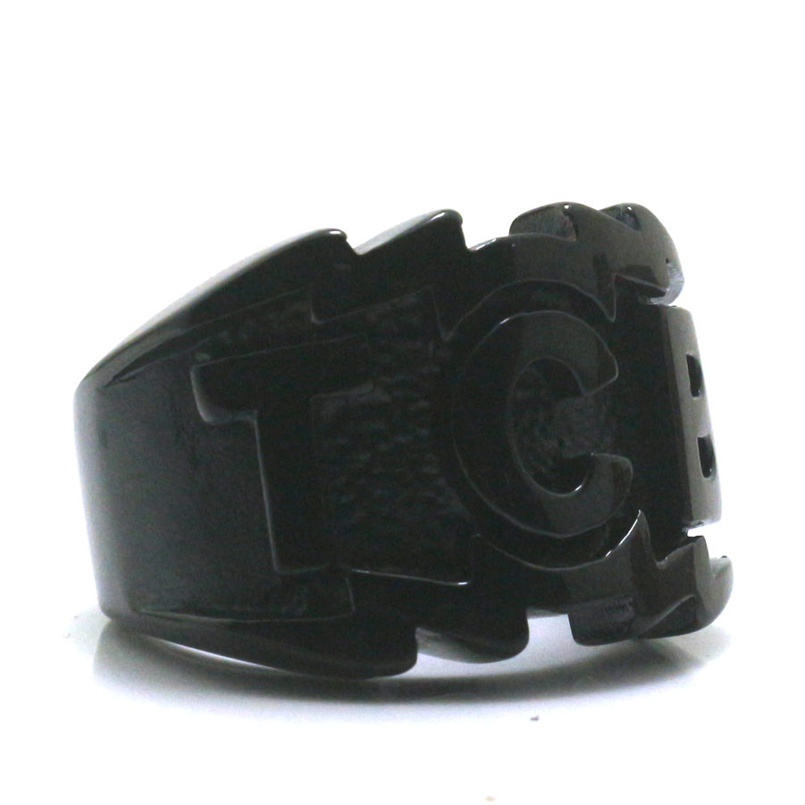 Size 8 to Size 14 Mens Boys 316L Stainless Black TCB Biker Silver Ring