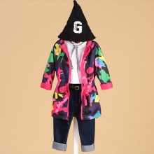 2017 Girls Clothes Girl Jackets Children Coat Kids Spring Outerwear teenager Camo Hooded Windbreaker Thin Waterproof Trench Coat