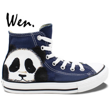 Wen Original Hand Painted Shoes Design Custom Cute Panda Women Men's High Top Blue Canvas Sneakers Boys Girls Gifts