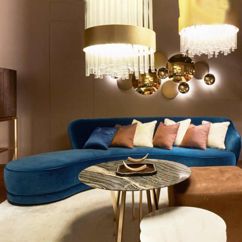 Superb Nordic Light Luxury Blue Fabric Sofa Office Lobby Reception Curved Sofa Hotel Beauty Salon Sofa Download Free Architecture Designs Scobabritishbridgeorg