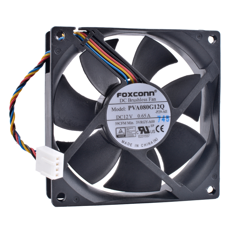 COOLING REVOLUTION PVA080G12Q 8cm 80mm fan 8025 80x80x25mm 12V 0.65A 4Pin PWM Computer CPU High Air Volume Cooling Fan grey cat grey cat gr017ewhzs39