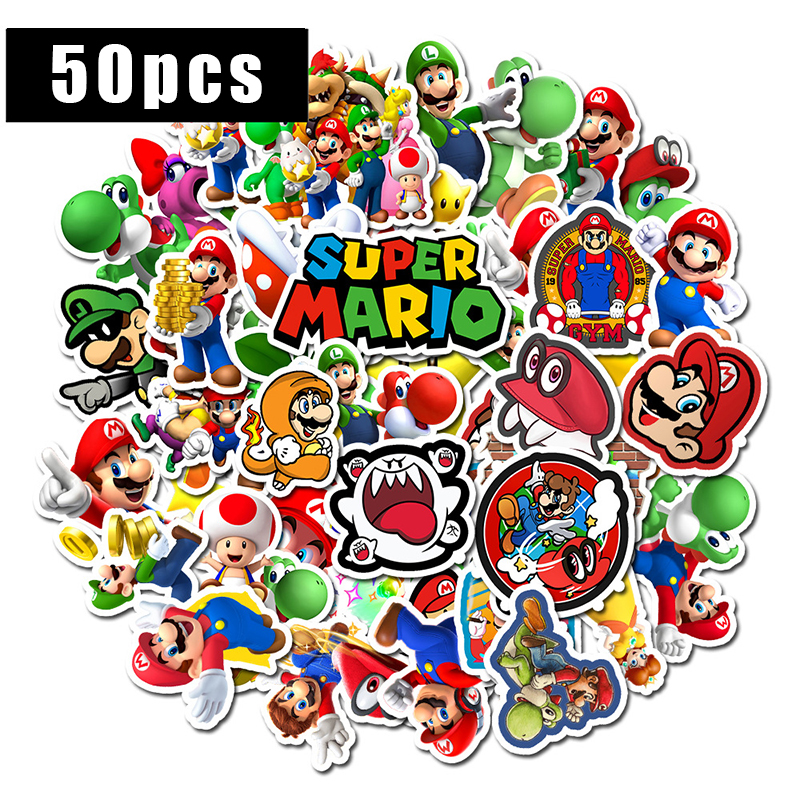 50pcs Anime Game Mario Cartoon Sticker Waterproof Suitcase DIY Laptop Guitar Skateboard Toy Lovely Stickers