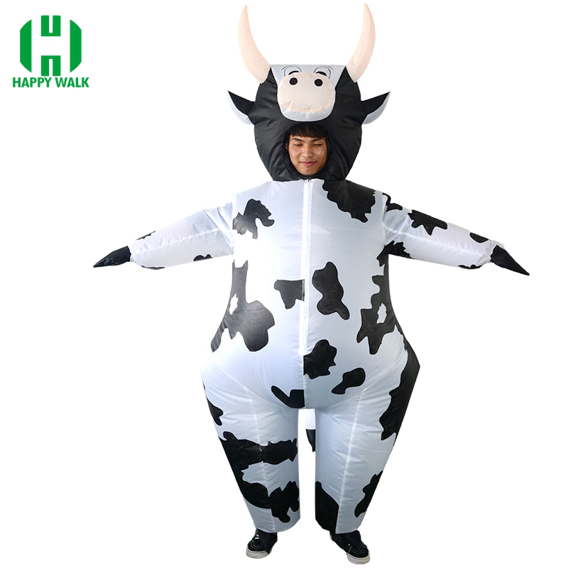 Cow Inflatable Costume Mascotte Milk Cattle Costume Inflatable Cow Carnival Halloween Air Suit Adult Party Cosplay Costumes