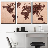 3 Pcs/Set Combined Creative Coffee Bean World Map Canvas Painting Fashion Print Wall Picture for Coffee Shop Decor Unframed