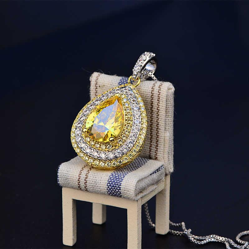 OneRain Роскошный 100% стерлингового серебра 925 9*12 мм капли воды груша драгоценный камень цитрин обручальное свадебное ожерелье для женщин оптовая продажа