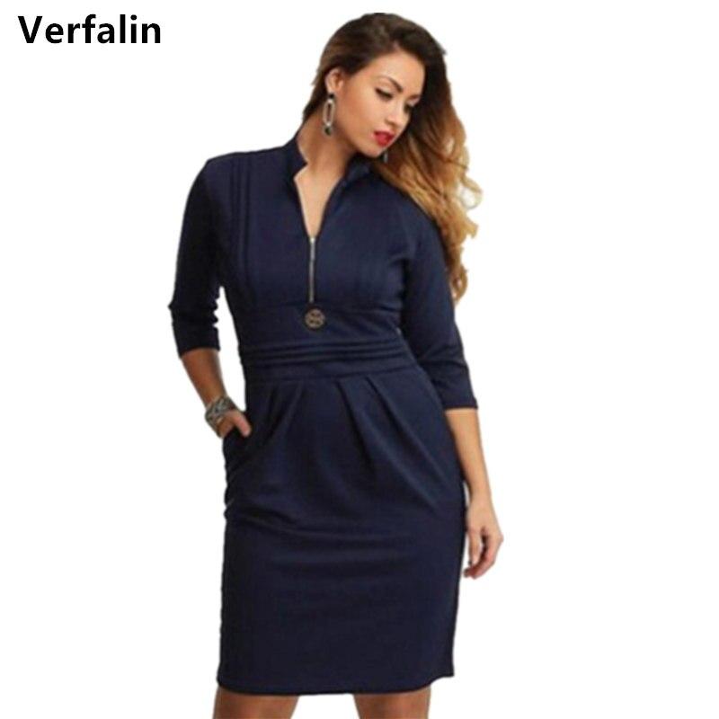 Verfalin Formal Short Dresses Plus Size 2017 Spring Women Office Bandage Dresses Suit Girls Female Vestidos