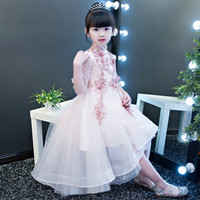 Chinese Wind Girls Children Wedding Birthday Party Ball Gown Mesh Dress Kids Wine red Pink Color Model Show Performance Dress