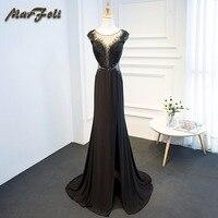 True Color Vestidos De Formatura Black Lace All Beads Handwork O Neck Two Piece Prom Dresses