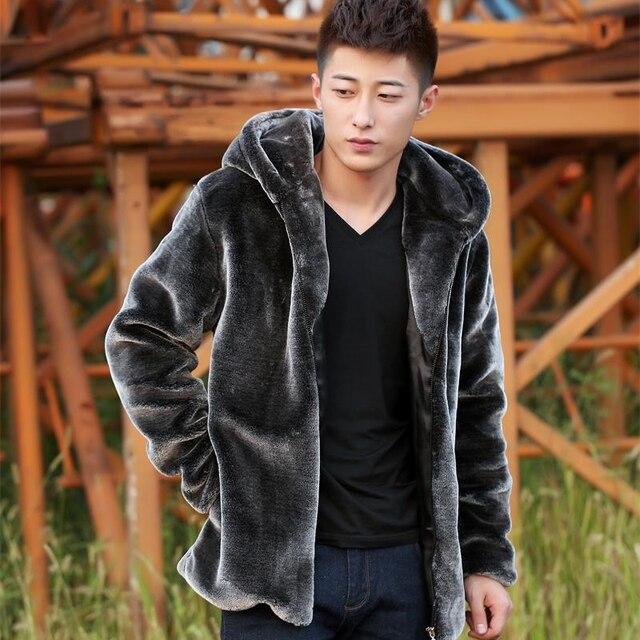 2017 Brand Mens Mink Skin Coat Keep Warm Men Casual Coat Mink Cashmere Plus Size 4 Color Avaliable Men Rex Rabbit Coat MT314