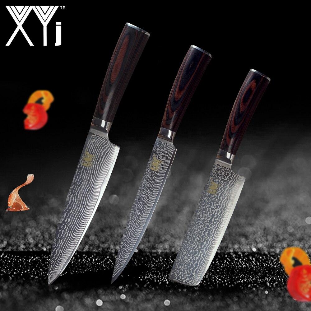 XYj Marque VG10 Damas Couteau En Acier 3 pcs Ensemble Couleur Manche En Bois Japonais Couteau de Cuisine En Acier Ultra-mince Lame couteaux de cuisine Ensemble