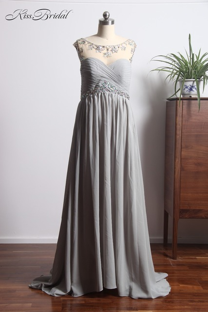 1fe8b1d3c87 Elegant Long Chiffon Prom Dresses Illusion Sweetheart Neckline Cheap Evening  Dress Gray avondjurken gala jurken