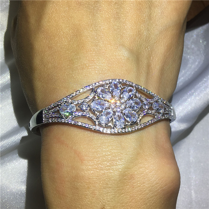 Luxury Flower Bangle 5A cubic zirconia stone Baguette bracelet White Gold Filled Bangles for women wedding accessariesLuxury Flower Bangle 5A cubic zirconia stone Baguette bracelet White Gold Filled Bangles for women wedding accessaries