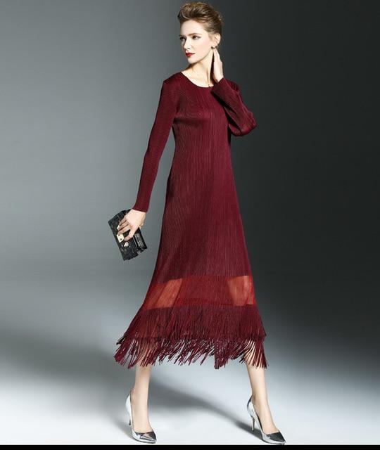 f04ce40aa922 2017 весной тенденция тонкий плиссированные женская цельный dress длинным  рукавом длина вислоухие платья 3D dress бесплатная