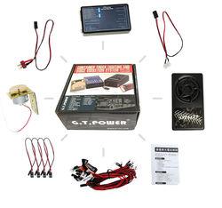 GT POWER ciężarówka kontenerowa oświetlenie i System wibracji głosowych dla samochodów ciężarowych RC w Części i akcesoria od Zabawki i hobby na