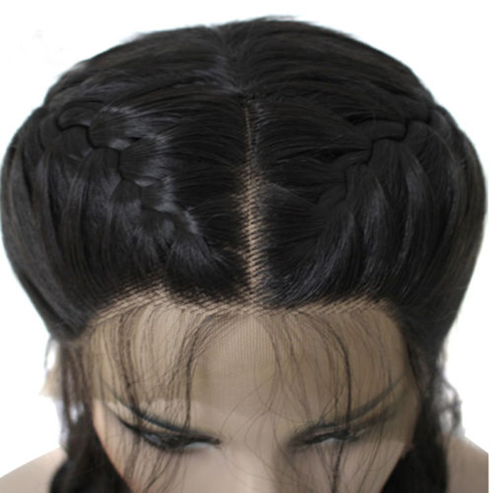 Wig Stands Fashion 2018 Modern Synthetic Baby Hair Braided Double Lace Front Wig Long Black Ombre Black Wigs Drop shippingJune12 charming long synthetic black ombre red straight women s lace front wig