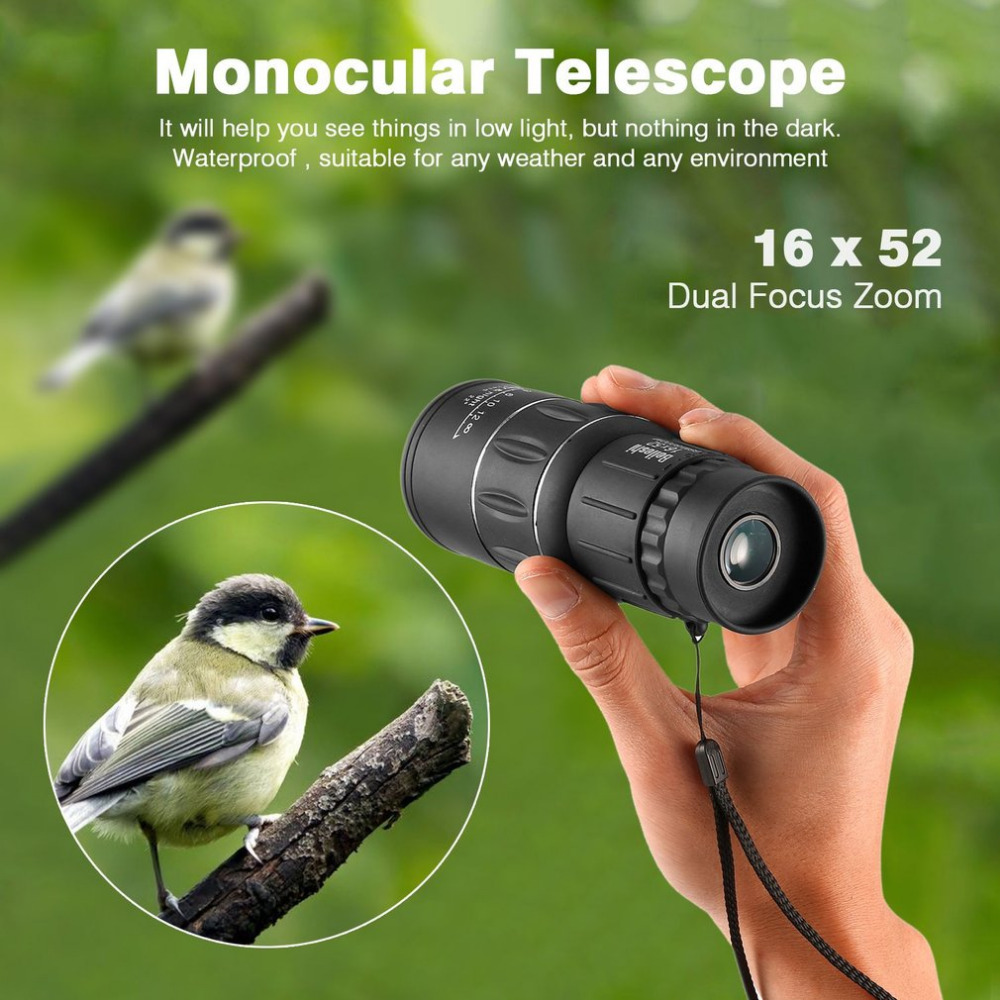 OUTAD Waterproof 16x52 HD Dual Focus Monocular Spotting Telescope Zoom Optic Lens Binoculars Outdoor Travel Hunting Optic Scope