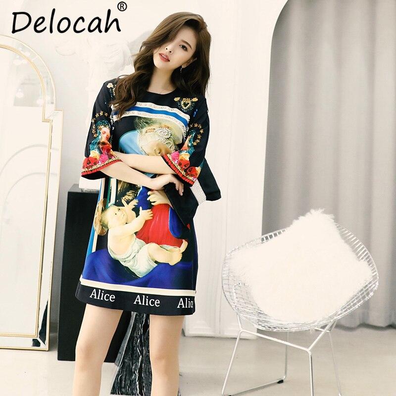 Delocah Women Spring Summer Dress Runway Fashion Designer Gorgeous Beading Appliques Character Printed Casual Elegant Dresses