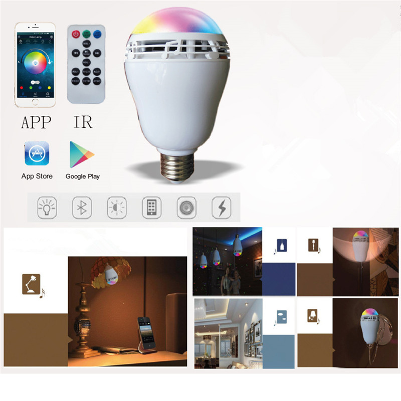 App Wireless Bluetooth LED Light Bulb RGB & White E27 Lamp with Audio Speaker Music Playing Controlled by Mobile Phone Tablet app controlled smart wake up light table lamp with bluetooth speaker